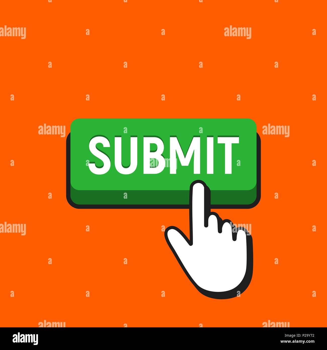 Cursor de mano hace clic en el botón Enviar. Pulse el botón de inserción de puntero concepto. Imagen De Stock