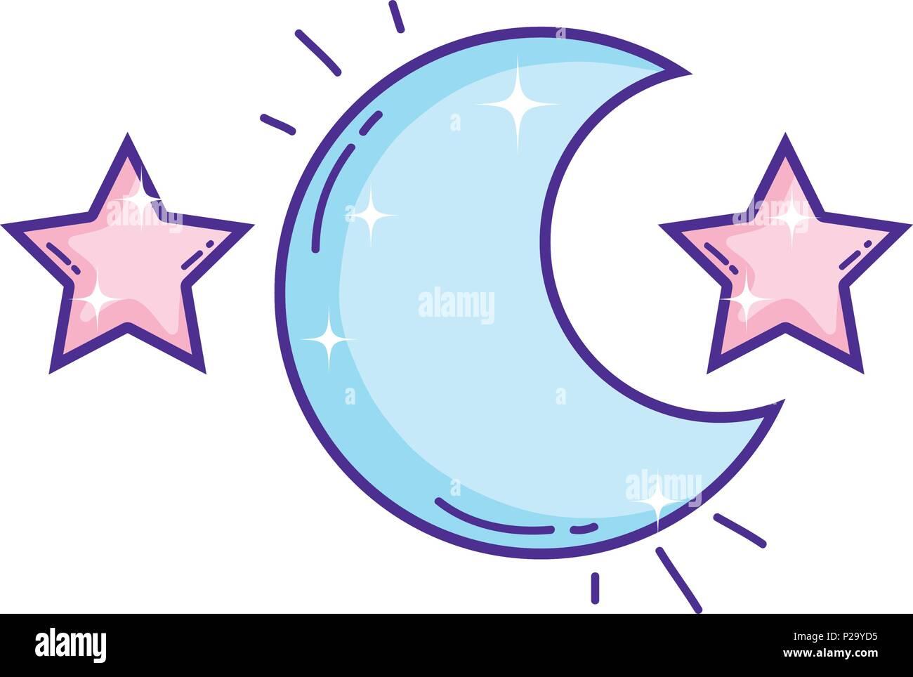 Luna cielo con estrellas astronomía espacio Imagen De Stock