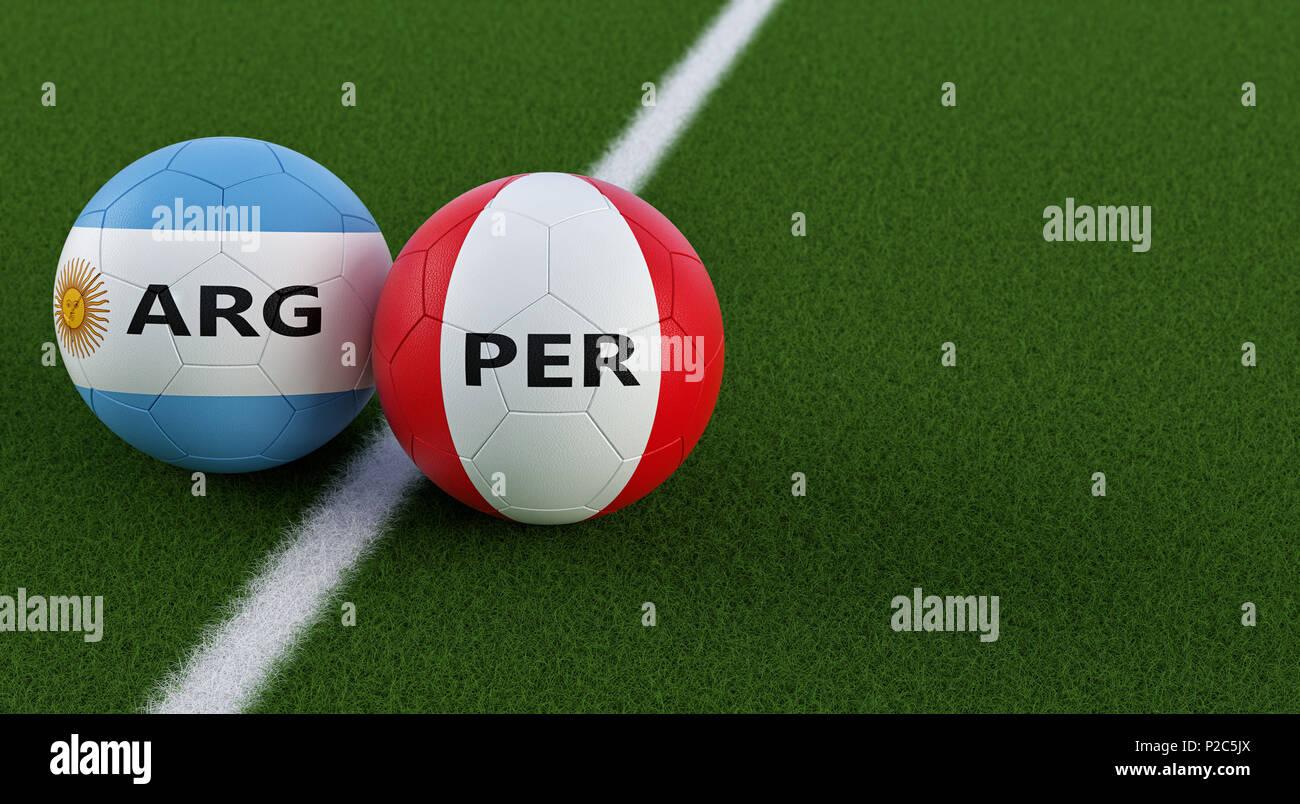 Perú Soccer Match - pelotas de fútbol en Argentinas y Perus colores  nacionales a8c045a19334c