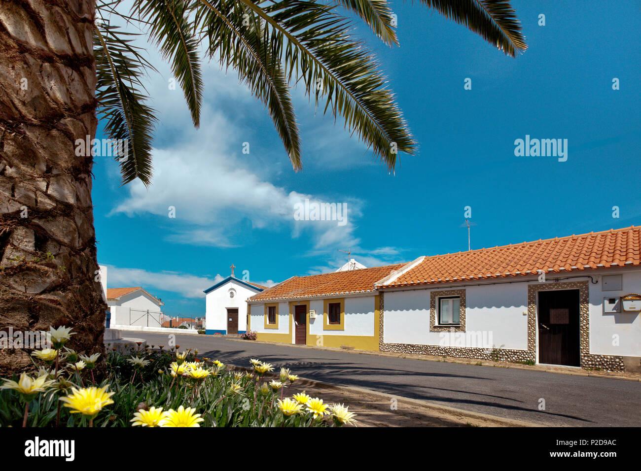Calle de la aldea, Almograve, Costa Vicentina, Alentejo, Portugal Foto de stock