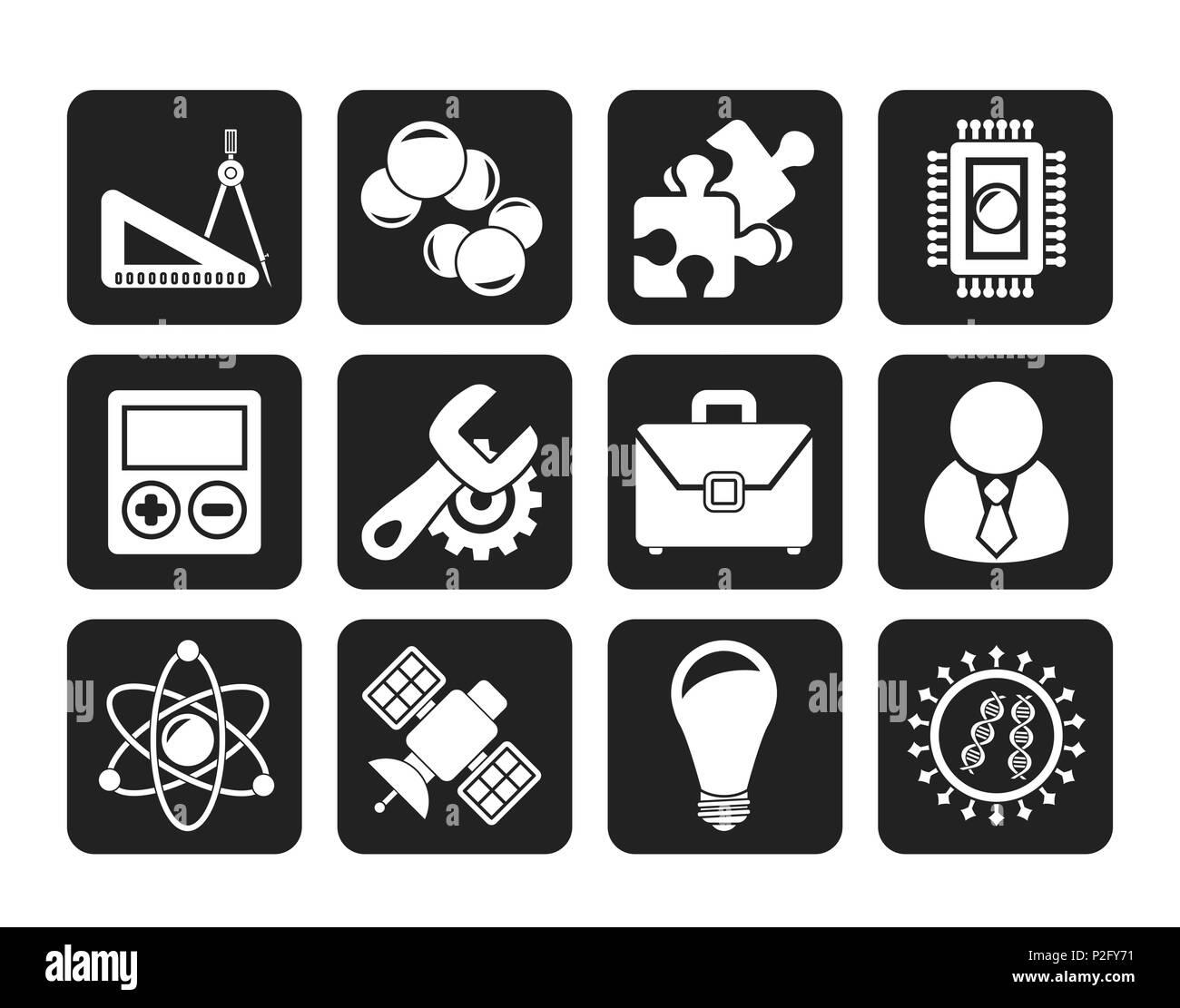 Iconos de Ciencia e Investigación de la Silueta Vector - conjunto de iconos Ilustración del Vector