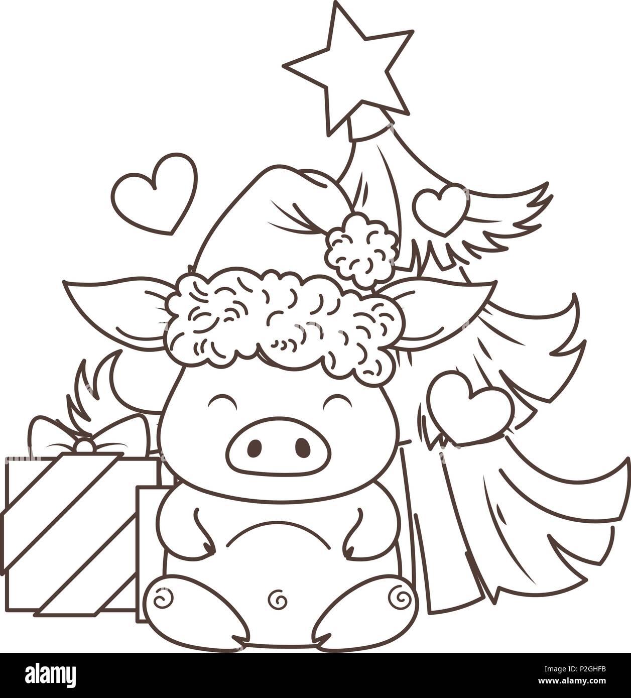 Cute Dibujos Animados De Cerdo En Amor Con El árbol De Navidad