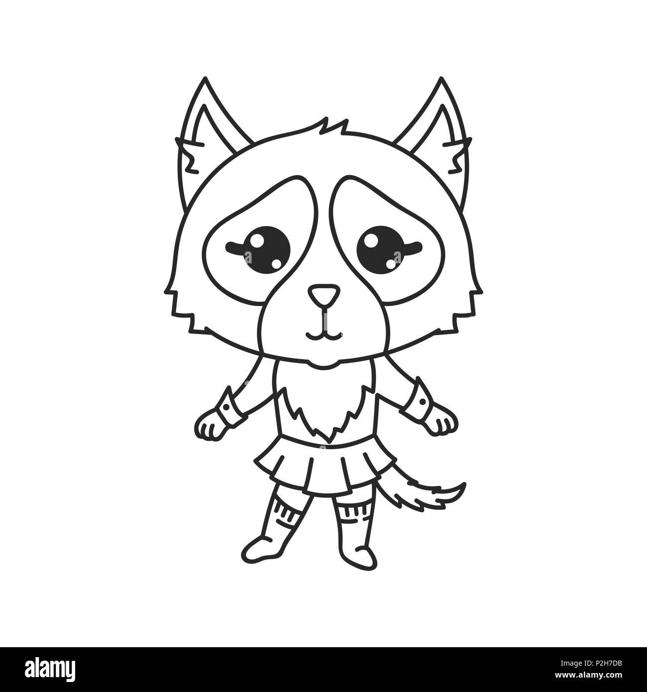 Ilustracion Vectorial De Cat En Estilo Japones Y Coreano Kawaii