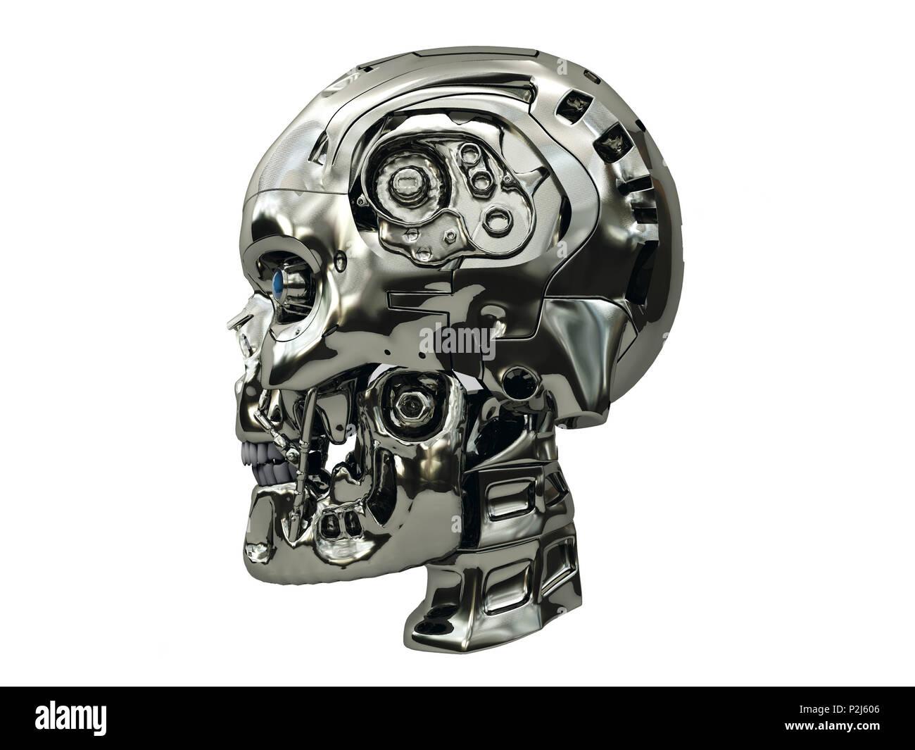 Cráneo del robot con superficie metálica y los ojos brillantes de color azul en la vista lateral, aislado sobre fondo blanco. Imagen De Stock