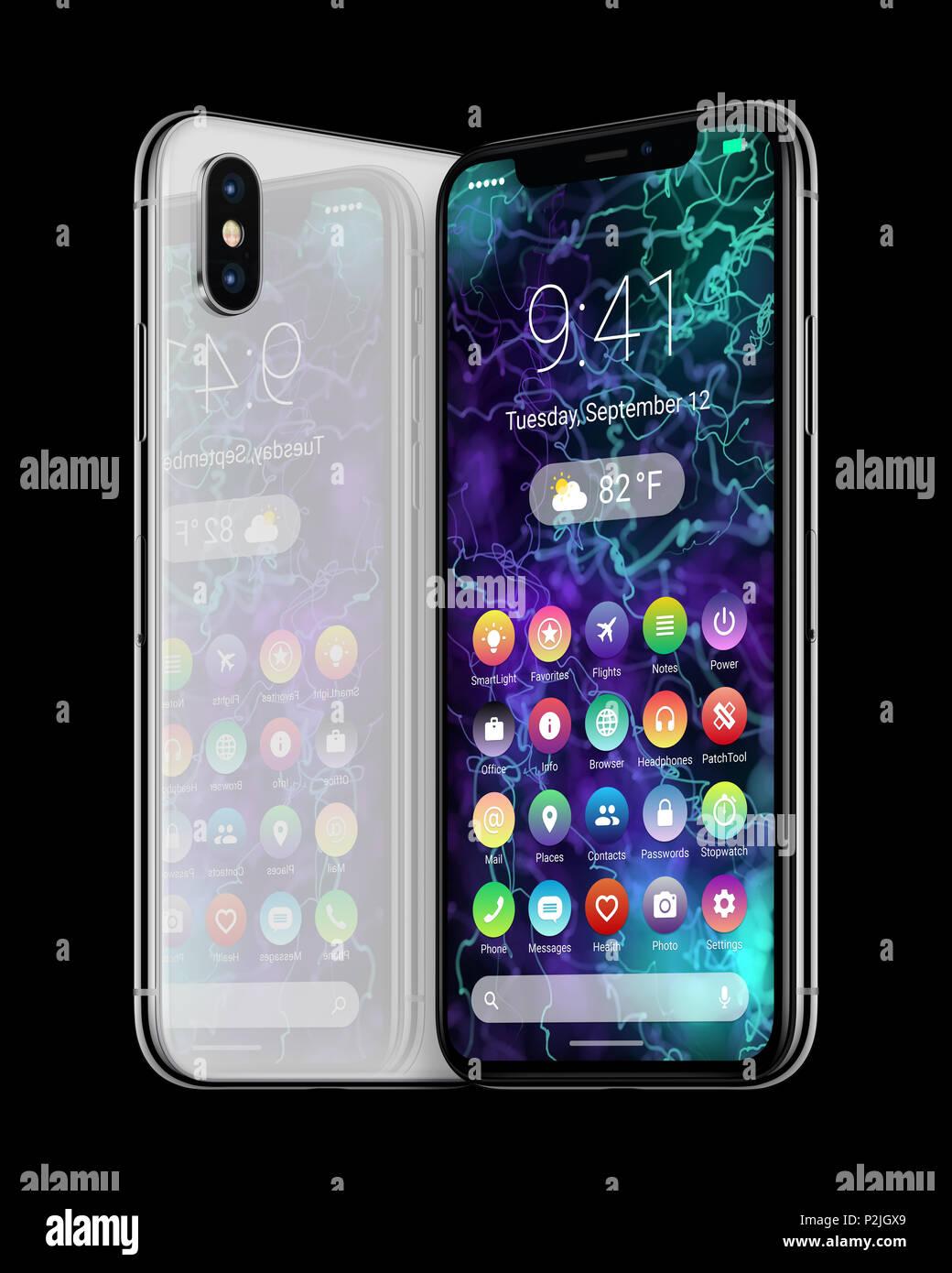 Gira los smartphones con material blanco plana de diseño de interfaz de usuario. Android teléfono concepto. Foto de stock