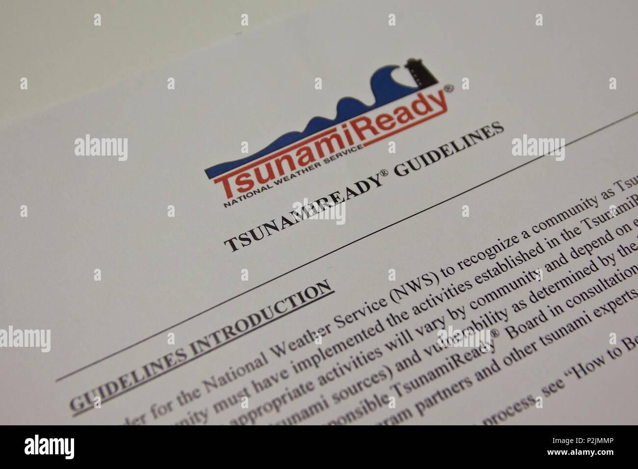TsunamiReady directrices emitidas por el Servicio Nacional de Meteorología, para incentivar y reconocer la comunidad preparación del tsunami Imagen De Stock