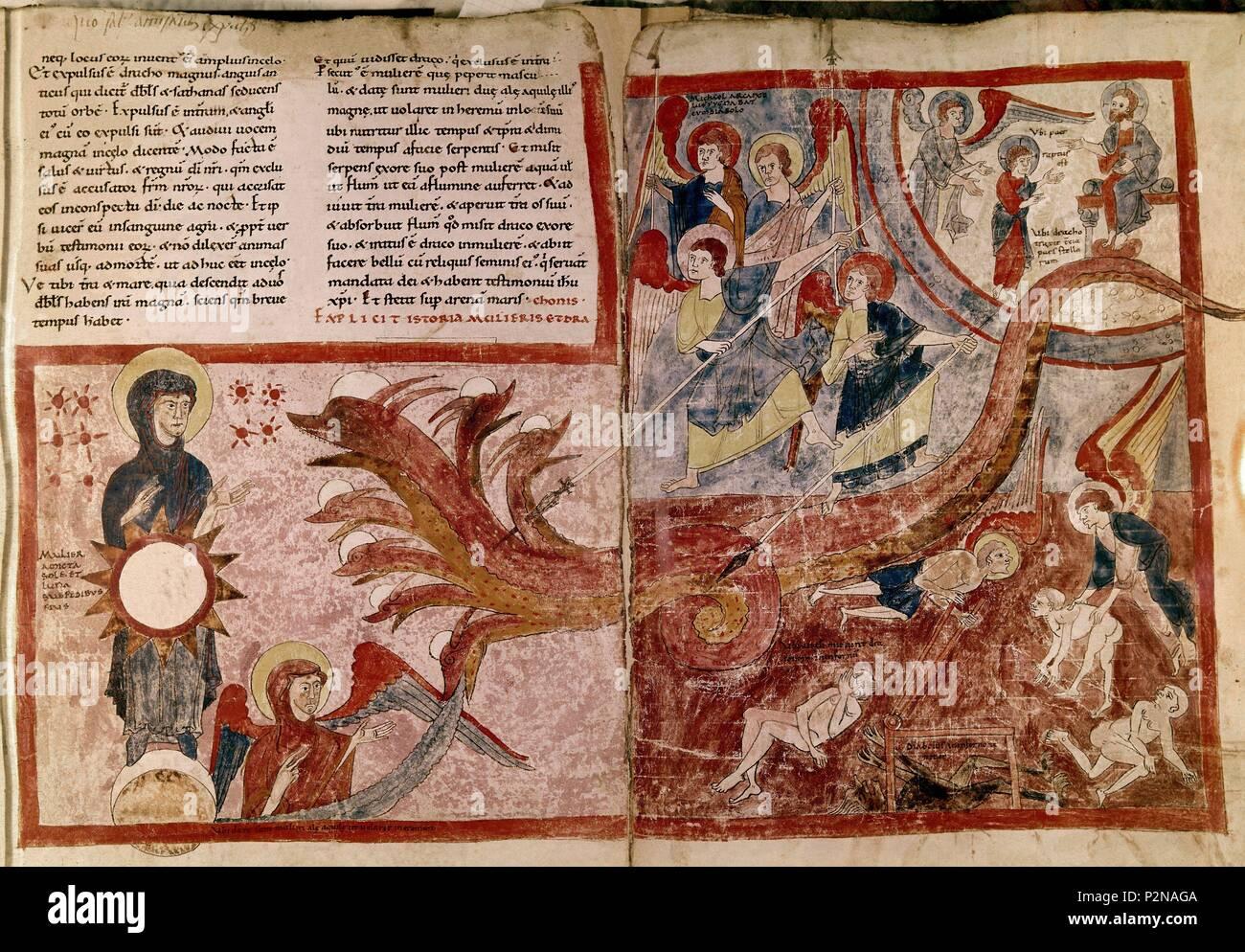 Girona-S XII-FOL 125R, la mujer vestida de sol y el dragón, el DRAGÓN DE  LAS 7 cabezas. Autor: Beato de Liébana (c. 730-c. 798). Ubicación:  Biblioteca Nacional, Turín, Italia Fotografía de stock -