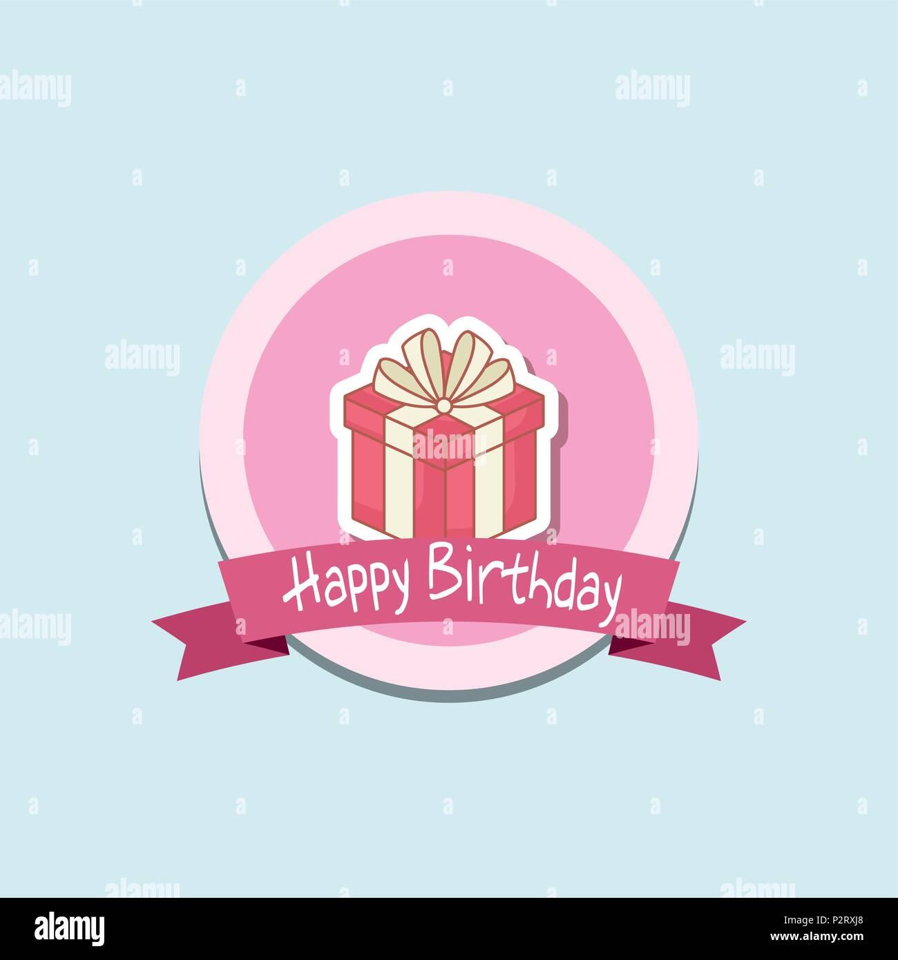 Feliz cumpleaños marco con Caja de regalo de diseño ilustración ...