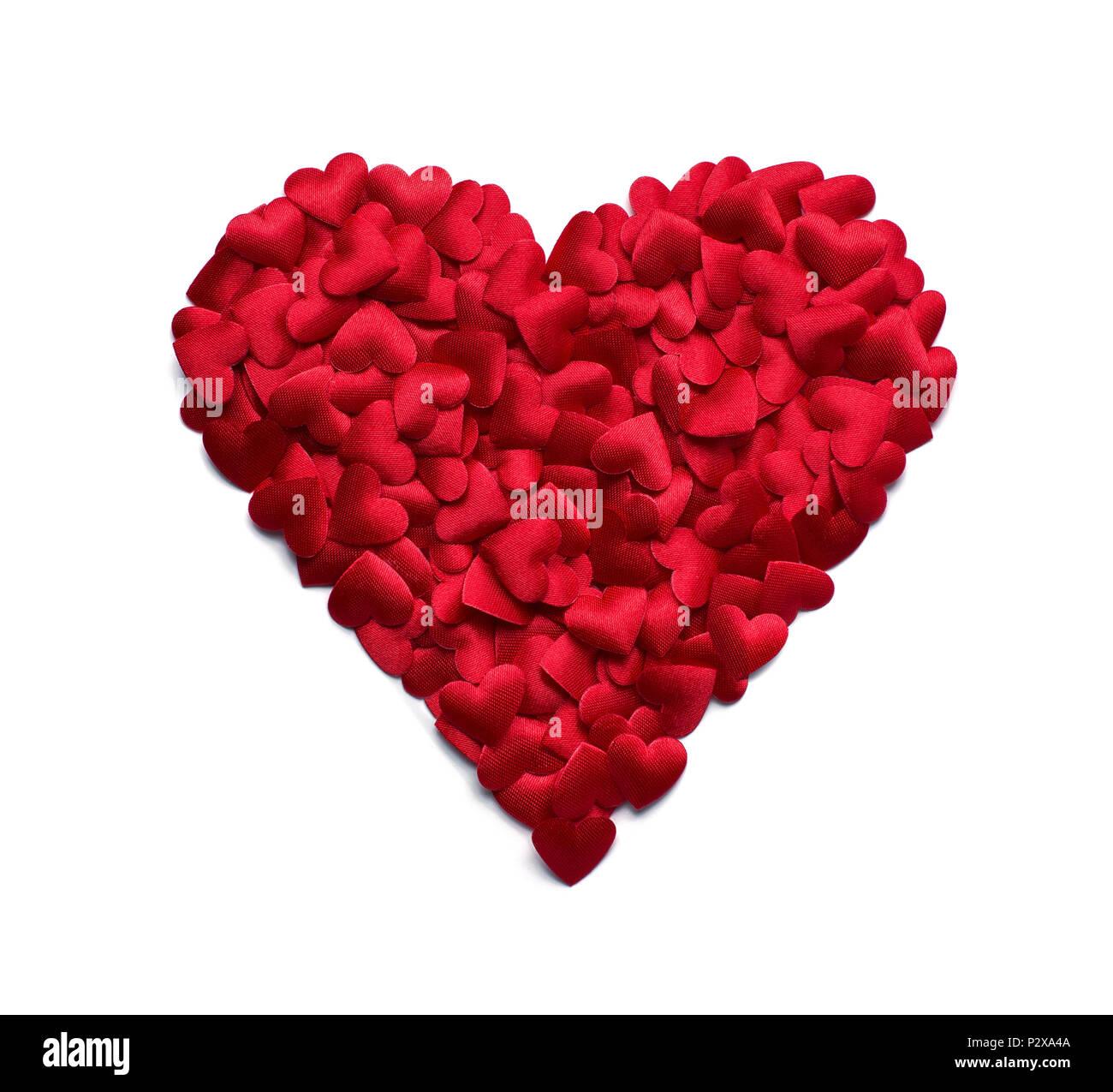 Rojo Con Forma De Corazón Hecho De Muchos Pequeños Confeti Corazones