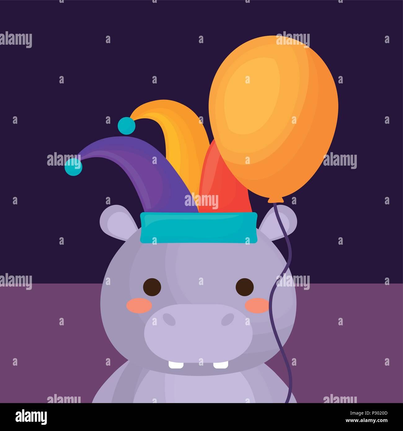 Diseño de circo de carnaval con hipopótamo con jester sombrero sobre fondo  púrpura bfb5f8d73d4