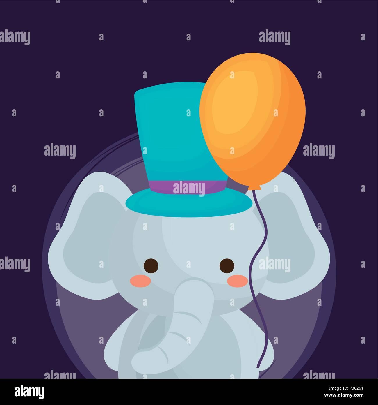 Diseño de circo de carnaval con lindo elefante con sombrero de copa y globo sobre  fondo 24220b9ddfa