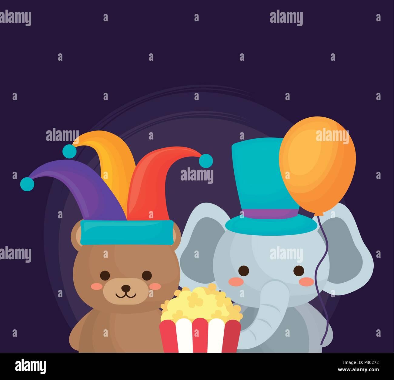 Diseño de circo de carnaval con lindo elefante y oso con pop corn sobre  fondo púrpura ab64994c3c2