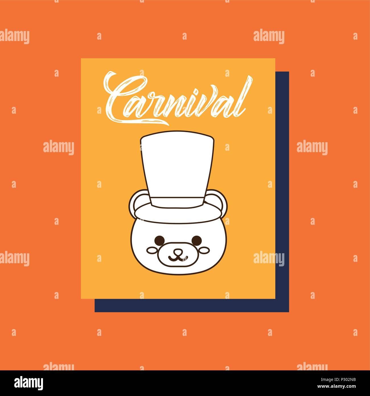 Diseño de carnaval con lindo oso con sombrero de copa sobre fondo naranja 21b326d1af1