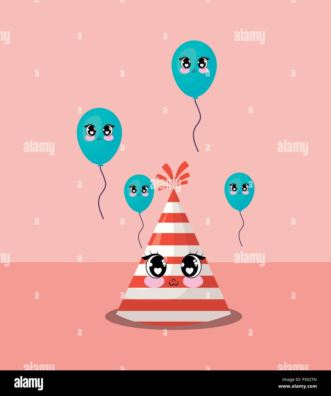 Diseño de carnaval con kawaii gorro de fiesta y globos sobre fondo de color  rosa d0ea7f67a88