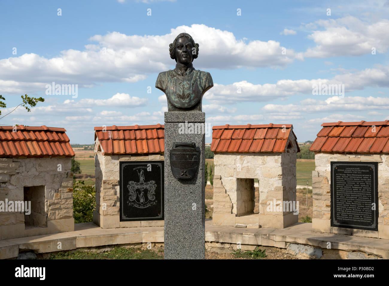 Bender, Moldova, monumento de la Luegenbaron Muenchhausen en la fortaleza Bender Foto de stock