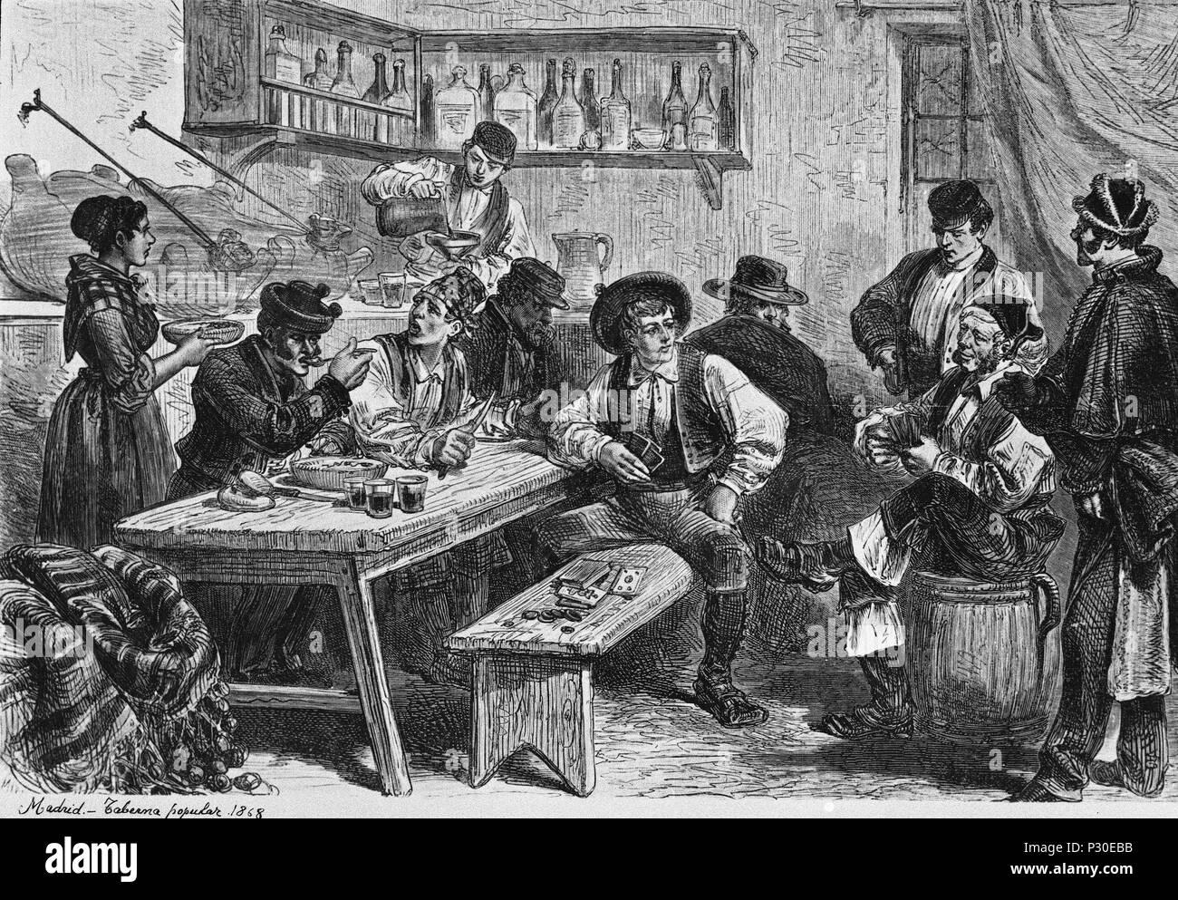 TABERNA POPULAR - 1868. Ubicación: MUSEO DE HISTORIA-GRABADOS BLANCO Y NEGRO, Madrid, España. Foto de stock