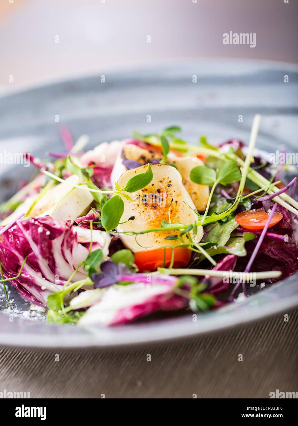 Ensalada De Verduras Con Queso De Cabra Y Hierba De