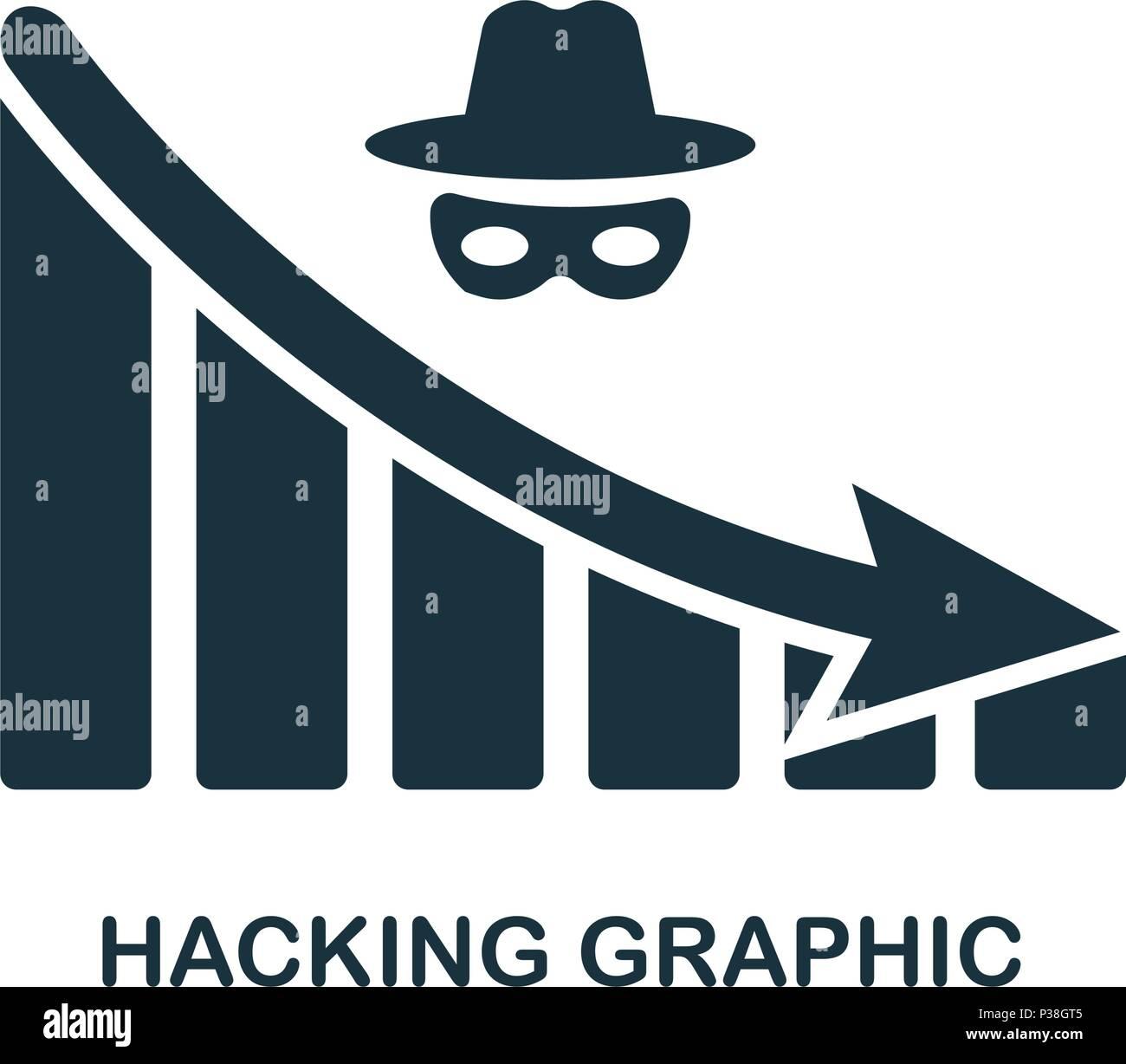 Disminución de Hacking icono gráfico. Mobile App, impresión, icono del sitio web. Elemento simple cantar. Disminución de Hacking monocromo icono gráfico ilustración. Imagen De Stock