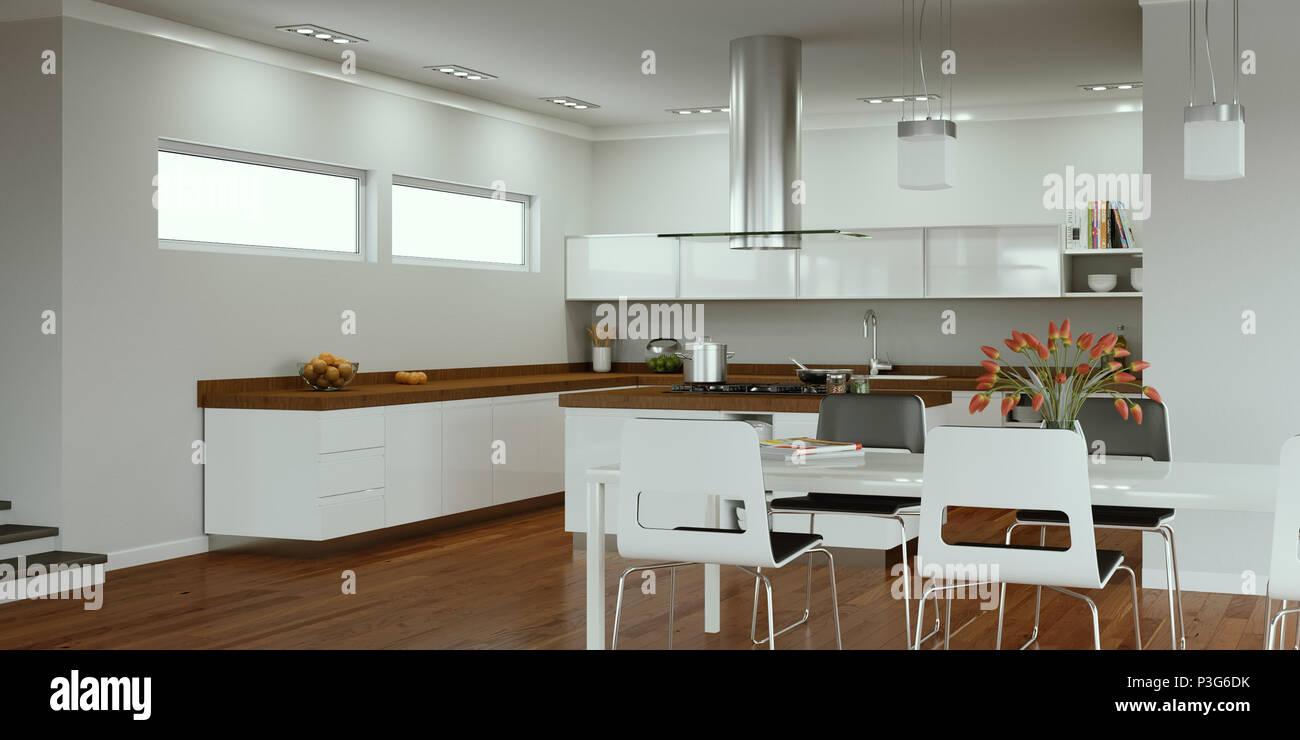 Ilustración 3d de una cocina moderna diseño de interiores Foto ...