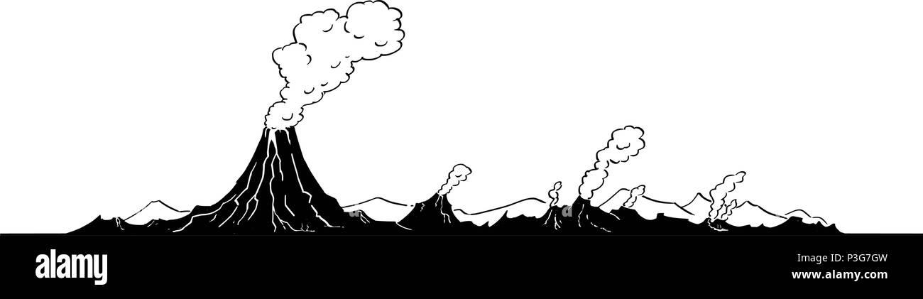 Dibujo Artistico Ilustracion Vectorial De Paisaje Del Volcan
