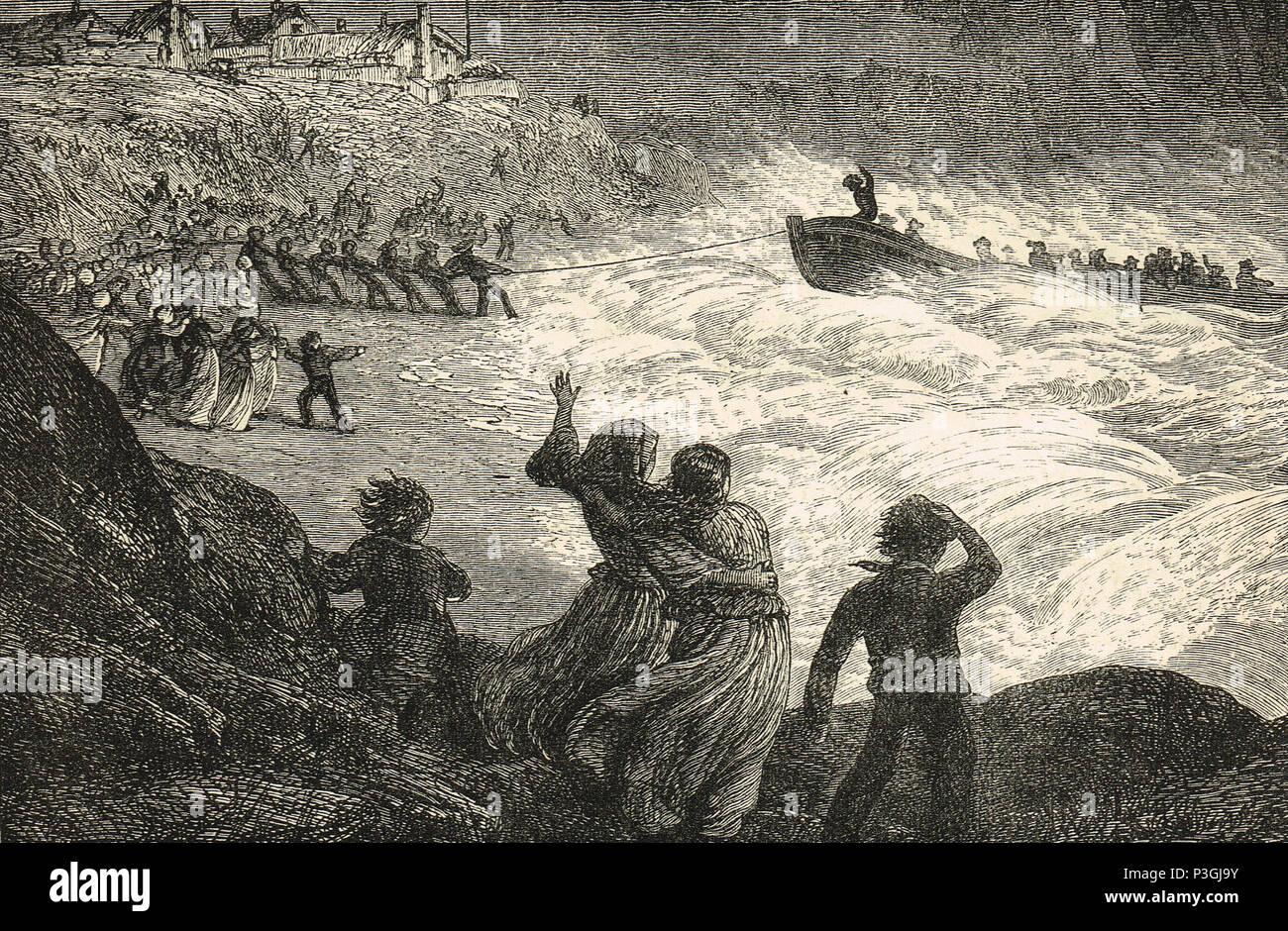 Retorno del bote salvavidas, ilustración del siglo XIX. Imagen De Stock