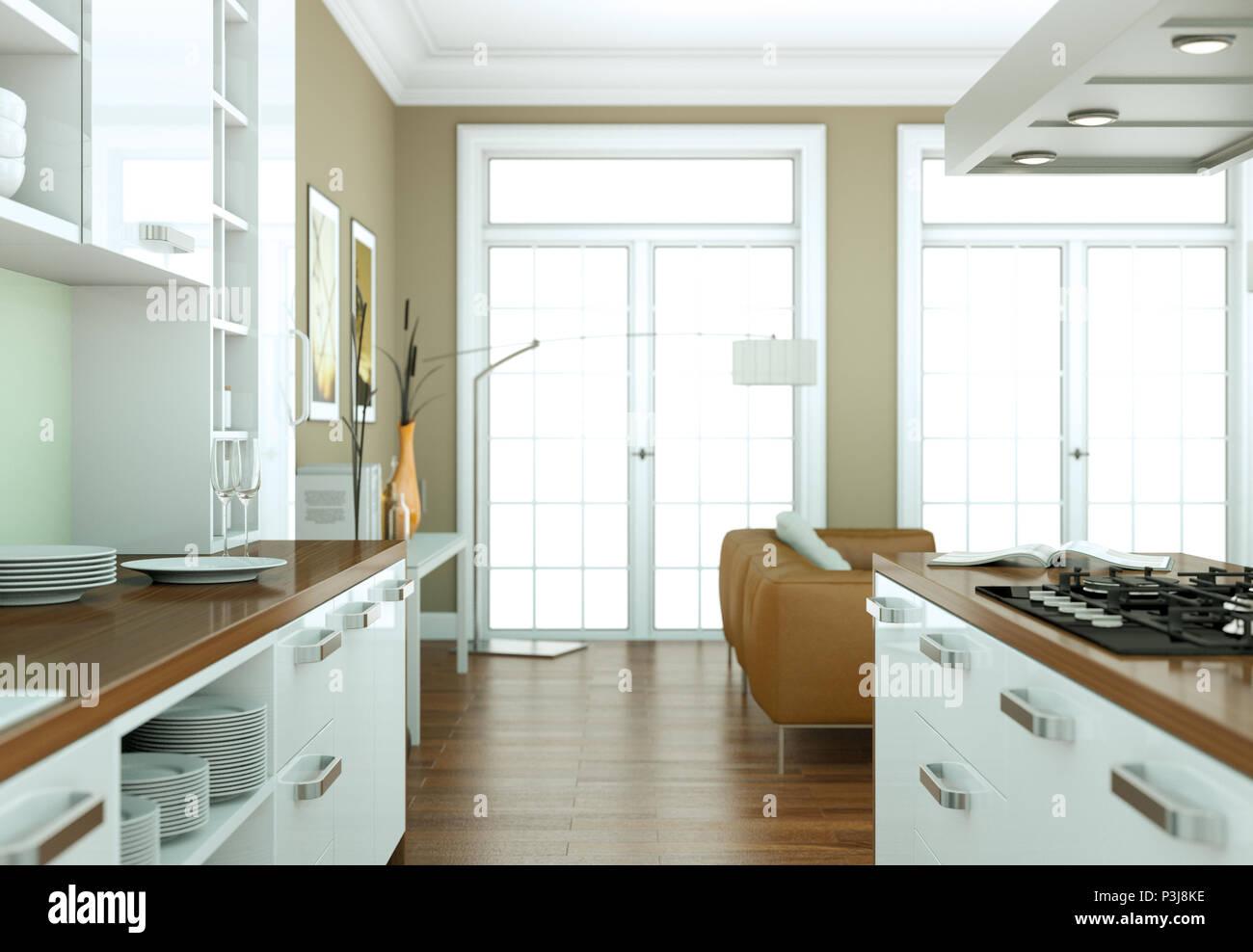 Ilustración 3d de una cocina moderna diseño de interiores ...