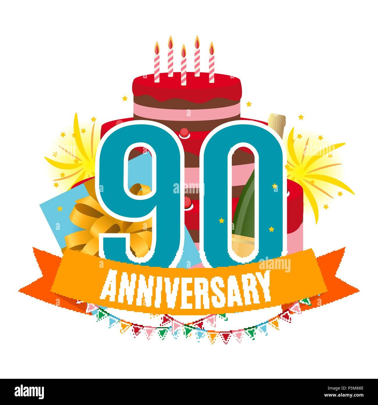 Plantilla De 90 Años De Aniversario Felicitaciones Tarjeta