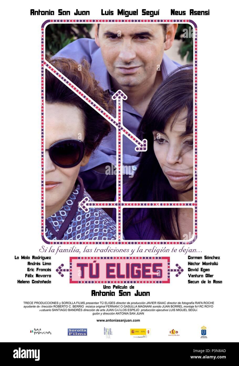 El título de la película original: TU ELIGES. Título en inglés: TU ELIGES. El director de cine: Antonia San Juan. Año: 2009. Crédito: Trece producciones / Álbum Imagen De Stock