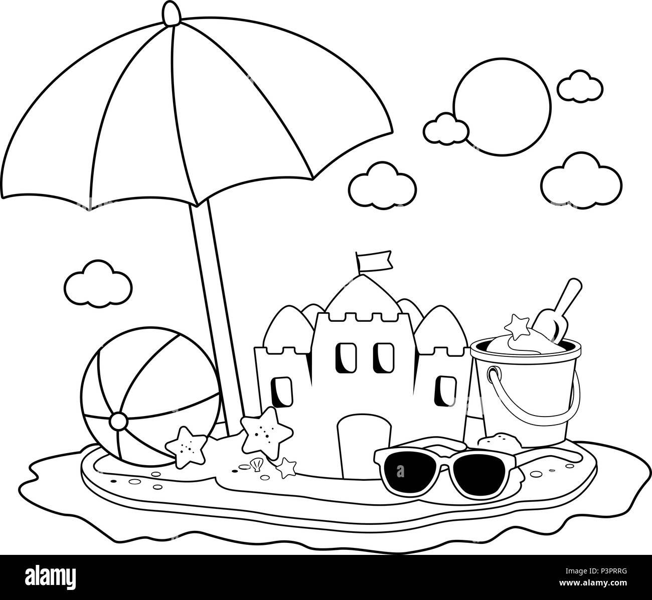 Isla de vacaciones de verano con sombrilla en la playa, un castillo ...