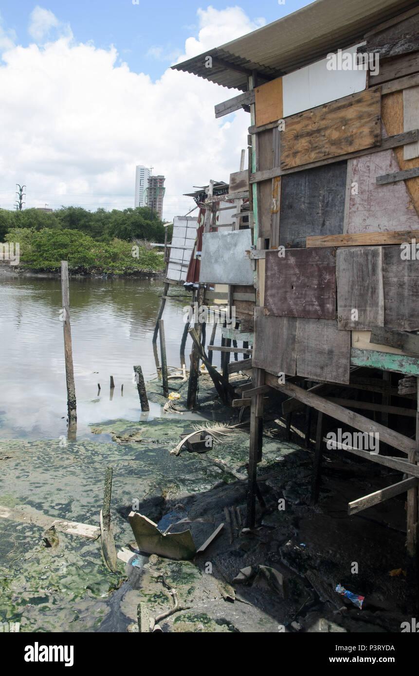 RECIFE, PE - 10.10.2015: PALAFITAS EM COMUNIDADE CARENTE - Palafitas na favela do el coque, como margens do Río Capibaribe. (Foto: Diego Herculano / Fotoarena) Foto de stock
