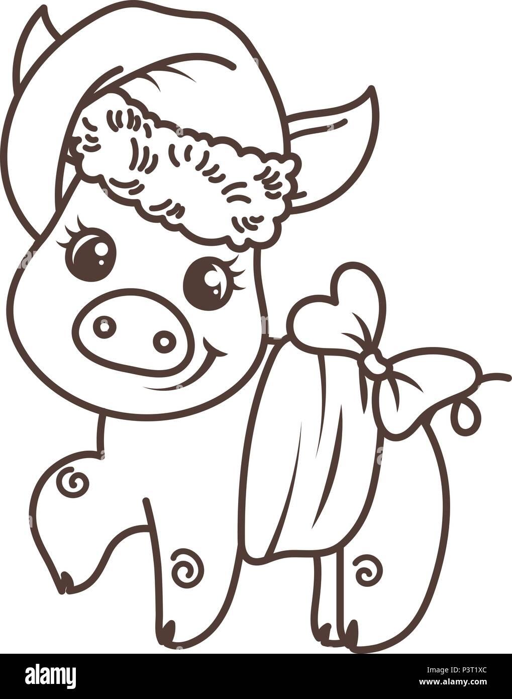 Feliz Año Nuevo 2019 tarjeta con cartoon baby pig en santa sombrero ...