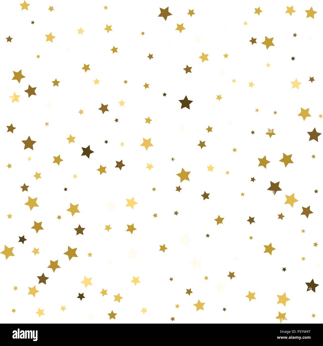 Patrón abstracto de azar caer estrellas doradas sobre fondo blanco ...