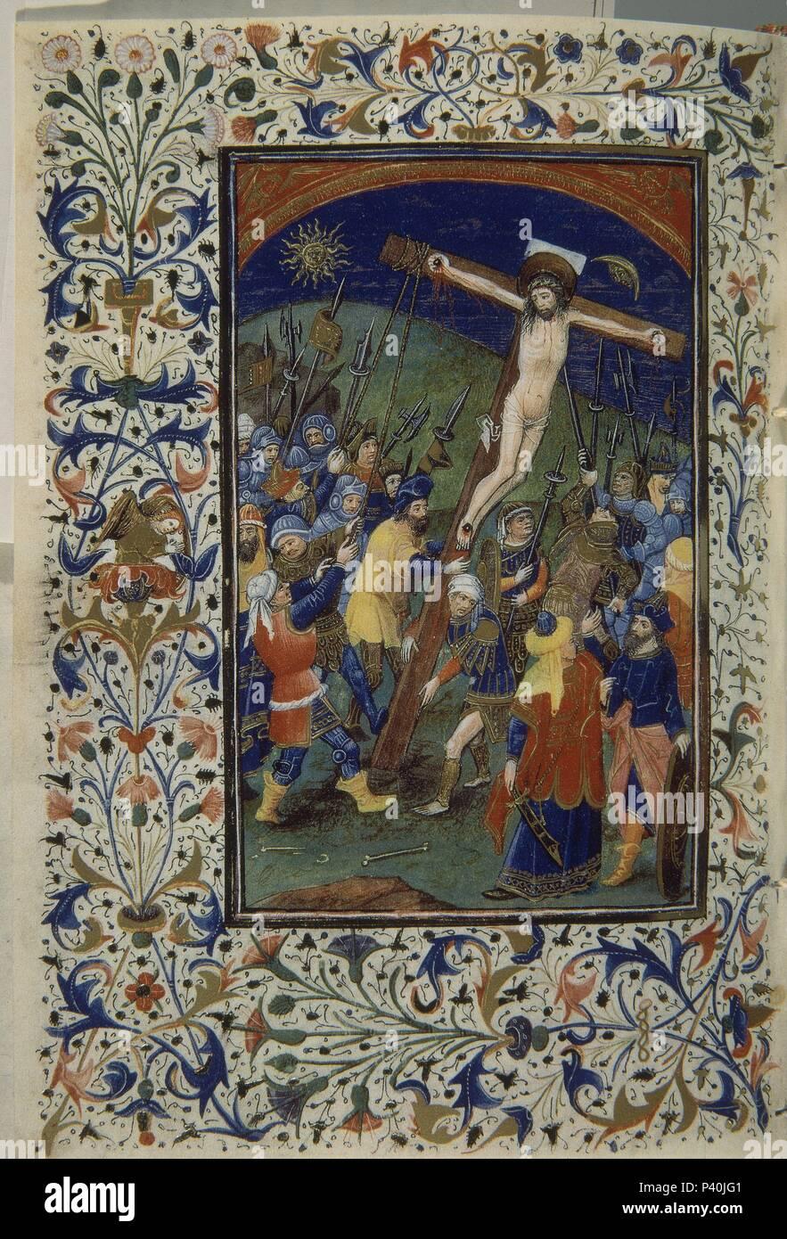 FACSIMIL - LIBRO HORAS DE ISABEL Católica - PASION -LEVANTANDO LA CRUZ - Siglo XV - 21,7x14 cm. Ubicación: PALACIO REAL-biblioteca, Madrid, España. Foto de stock