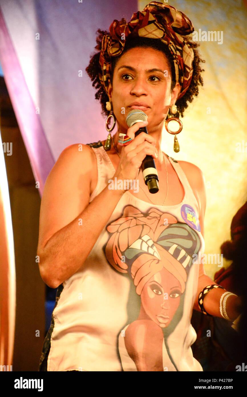 Marielle Franco durante evento em Madureira, Rio de Janeiro, RJ. Imagen De Stock