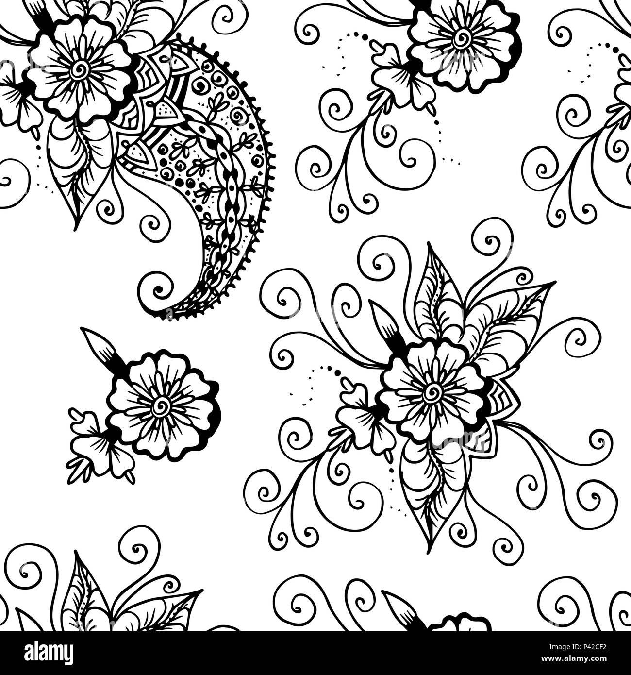 Flores Y Paisley Resumen De Dibujo Lineal Patron Sin Fisuras