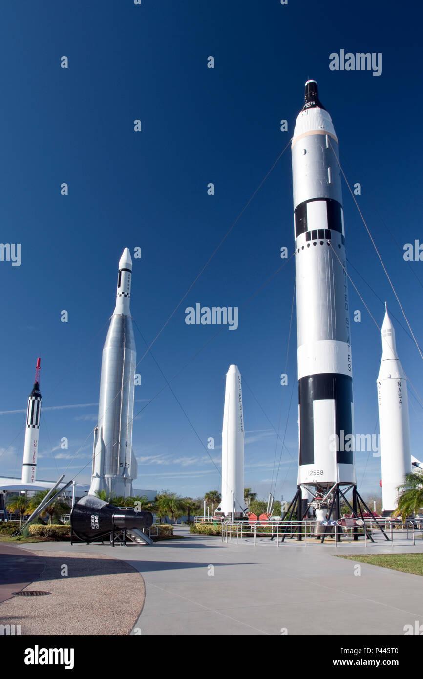 Mercurio y Géminis, 1960, del programa de cohetes en el jardín de cohetes en el complejo de visitas en el Centro Espacial Kennedy, de la NASA, en Florida. Foto de stock