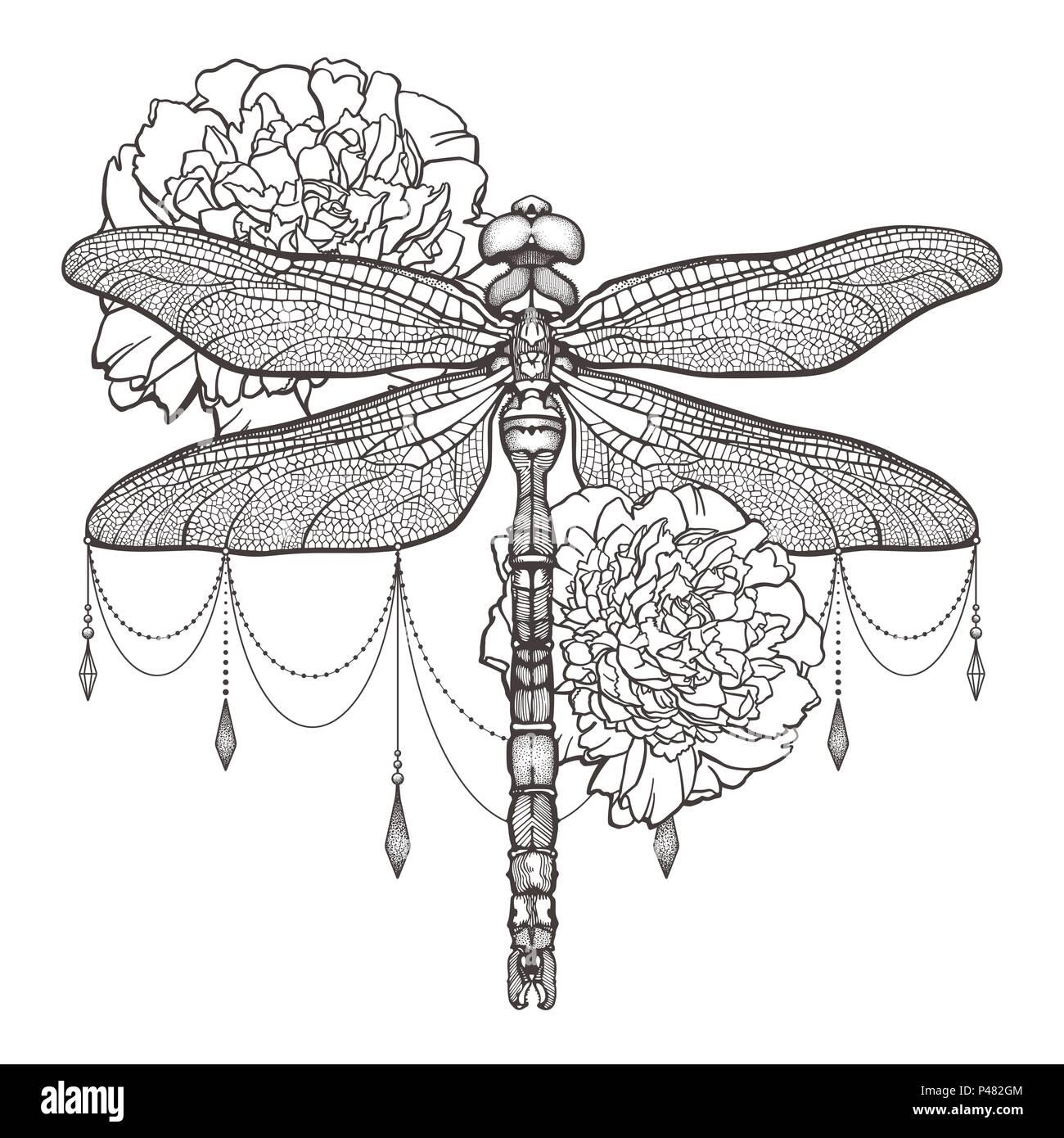 Dragonfly Aeschna Viridls negro y peonías. T-Shirt Design. Aislado ...