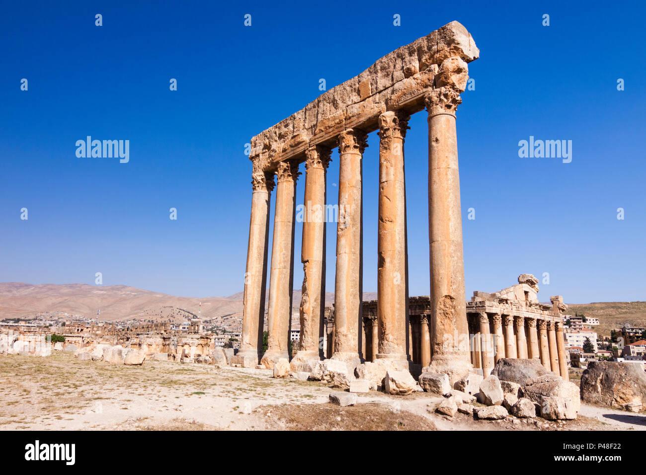 Baalbek, Líbano : La Unesco Patrimonio de la humanidad de las ruinas de los templos de Júpiter y Baco (150 AD y 250 AD) en Baalbek Roman Heliópolis. Imagen De Stock