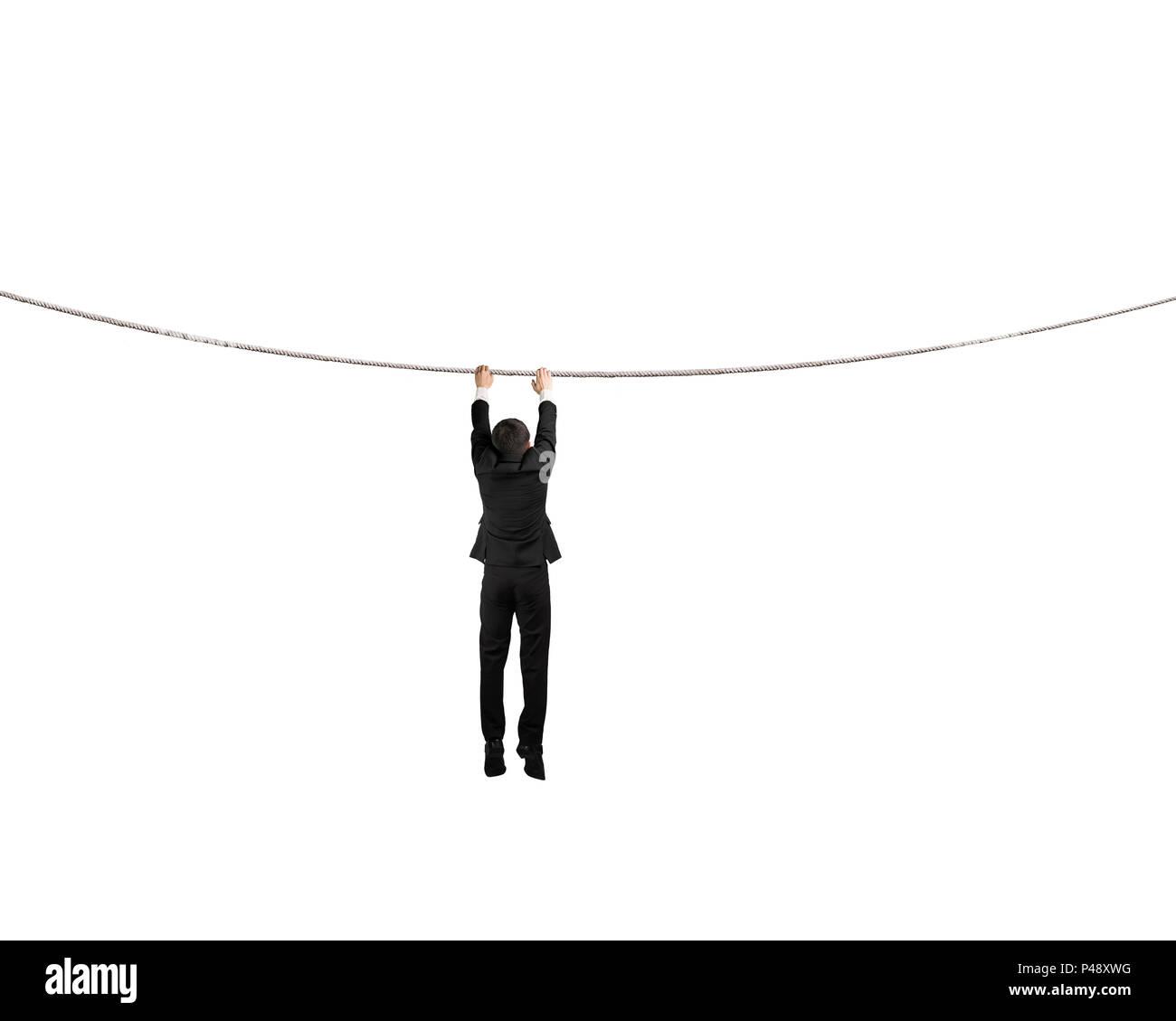 La celebración de la cuerda y colgando aislados en blanco Imagen De Stock