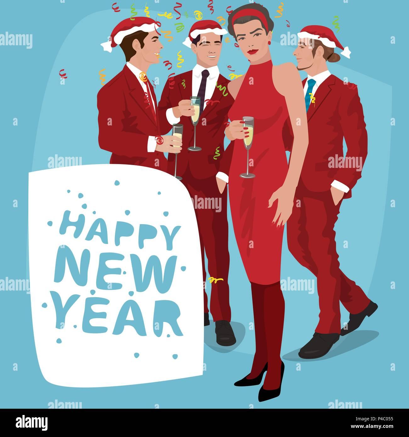 Varios hombres jóvenes de moda en Santa sombreros y las mujeres 1f4fd7112ae