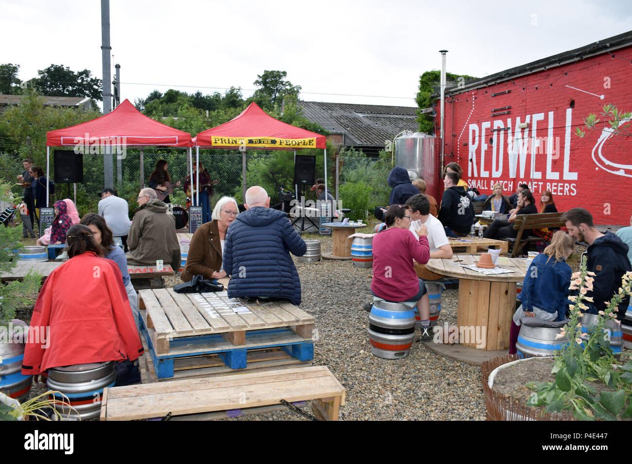 Cervecería Redwell Car Boot Art Fair, festival anual en el lucimiento de los artistas locales. Norwich, junio de 2018 Imagen De Stock