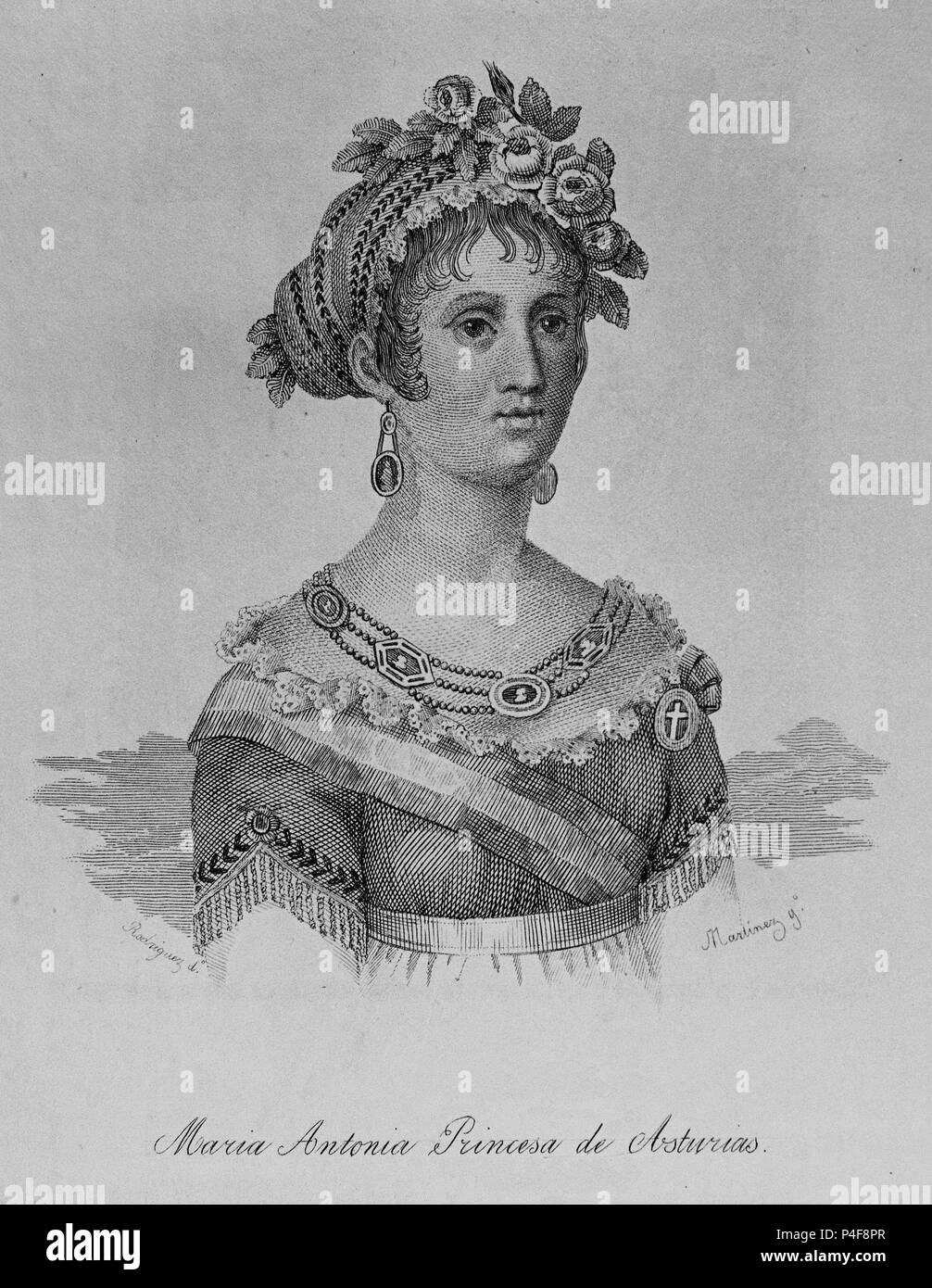 Marie Antoinette de Bourbon (1784-1806), Princesa de Asturias. Grabado. Siglo xix. Autor: Rodríguez. Foto de stock