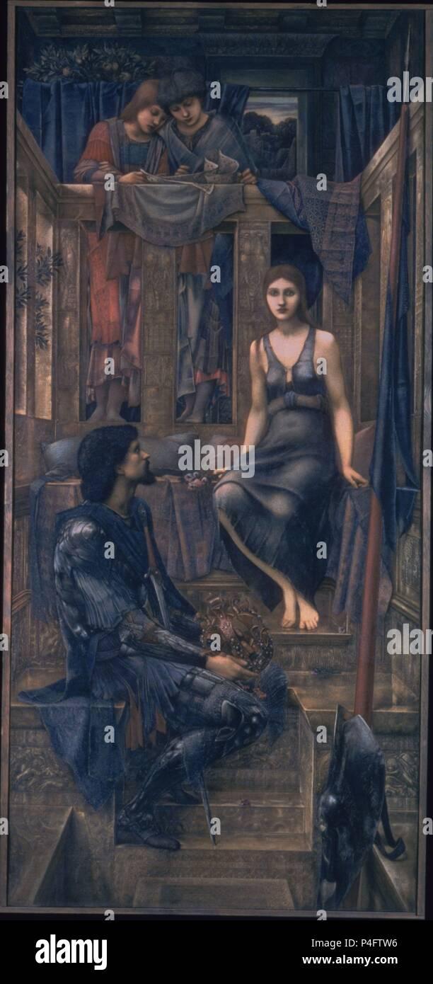 El rey Cophetua y la mendiga Maid - 1884 - 293x135,9 cm - acuarela sobre papel - Pre-Raphaelite. Autor: Edward Burne-Jones (1833-1898). Ubicación: Tate Gallery, Londres, Inglaterra. También conocido como: EL REY COPHETUA Y LA mendiga. Foto de stock