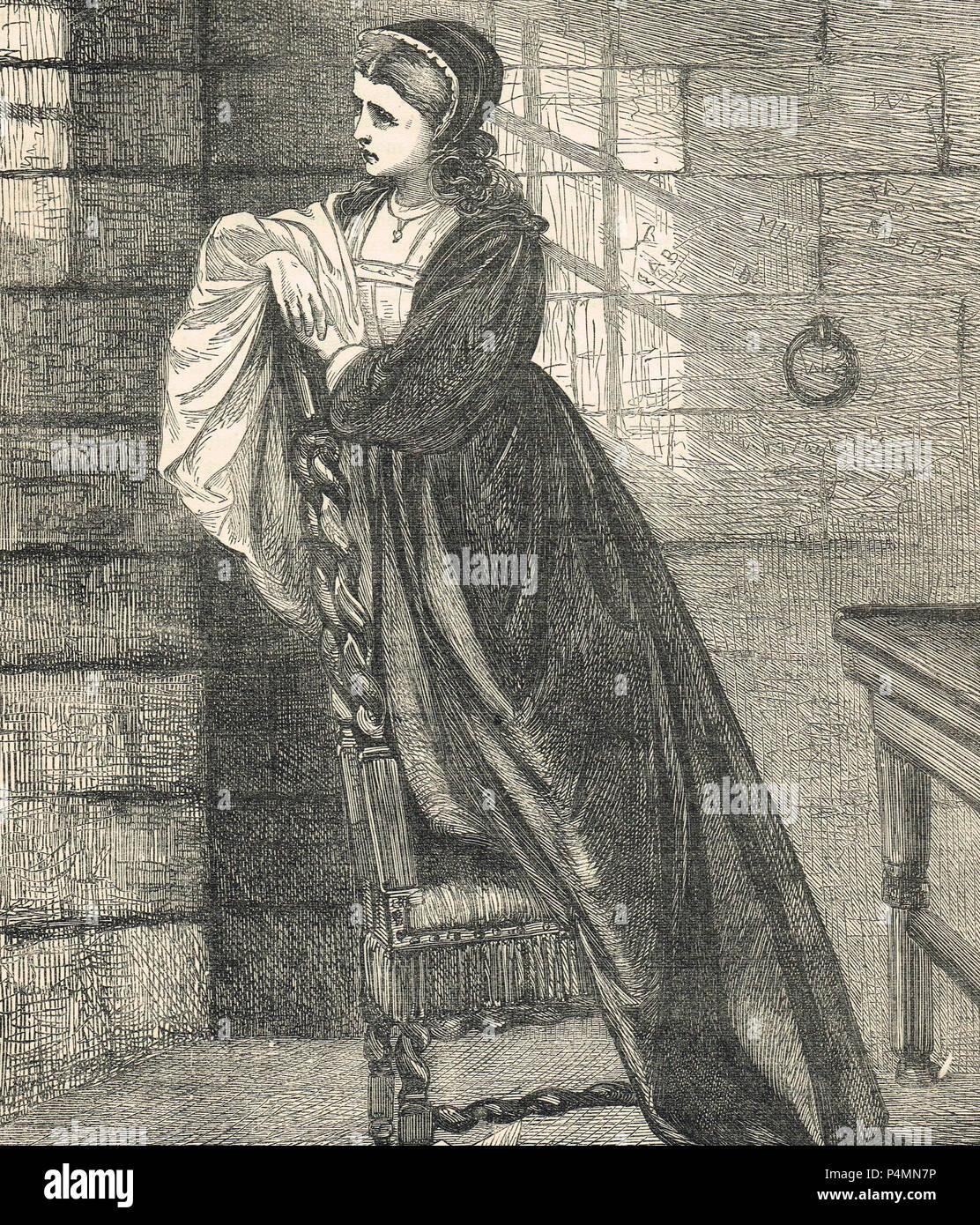 Lady Jane Grey, viendo a su marido pasar a la ejecución, el 12 de febrero de 1554 Imagen De Stock