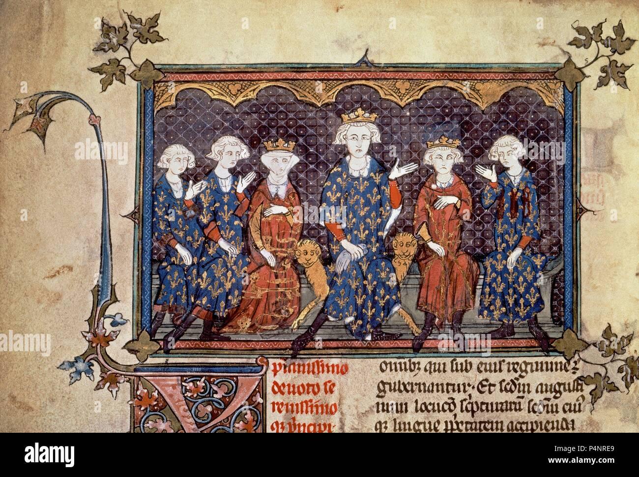 Felipe IV de Francia y de sus hijos. Luis X, Felipe V, Carlos IV e Isabel de Francia, casada con Eduardo II de Inglaterra. París, Biblioteca Nacional. Ubicación: Biblioteca Nacional. Foto de stock