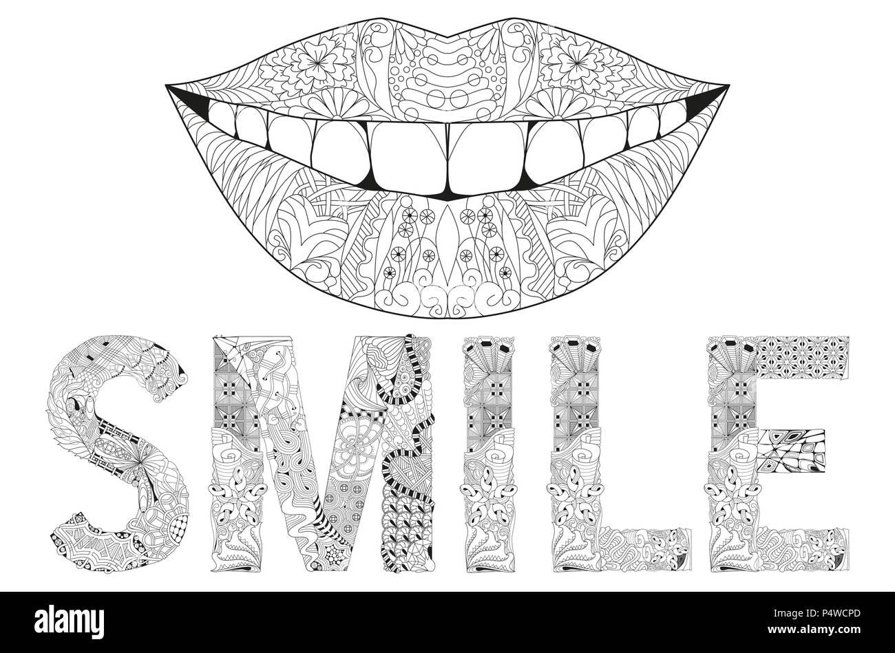 Arte Diseño Pintado A Mano Ilustración Palabra Sonrisa Dibujada A