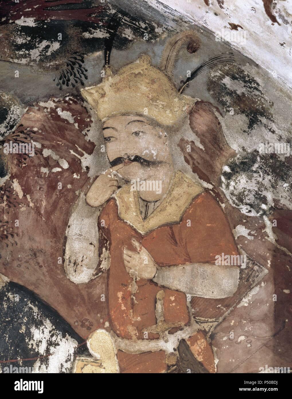 """Khosrau II (579-590), """"el Victorioso"""". Sasán rey del imperio. Chichil Sutun. Palace. Fresco en el interior del palacio. Isfahan, Irán. Foto de stock"""