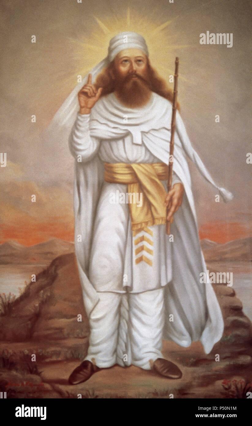 Zoroastro (siglo VI a.C.). Fundador del zoroastrismo. Retrato en el templo de fuego Atashkadeh. Yazd. Irán. Foto de stock