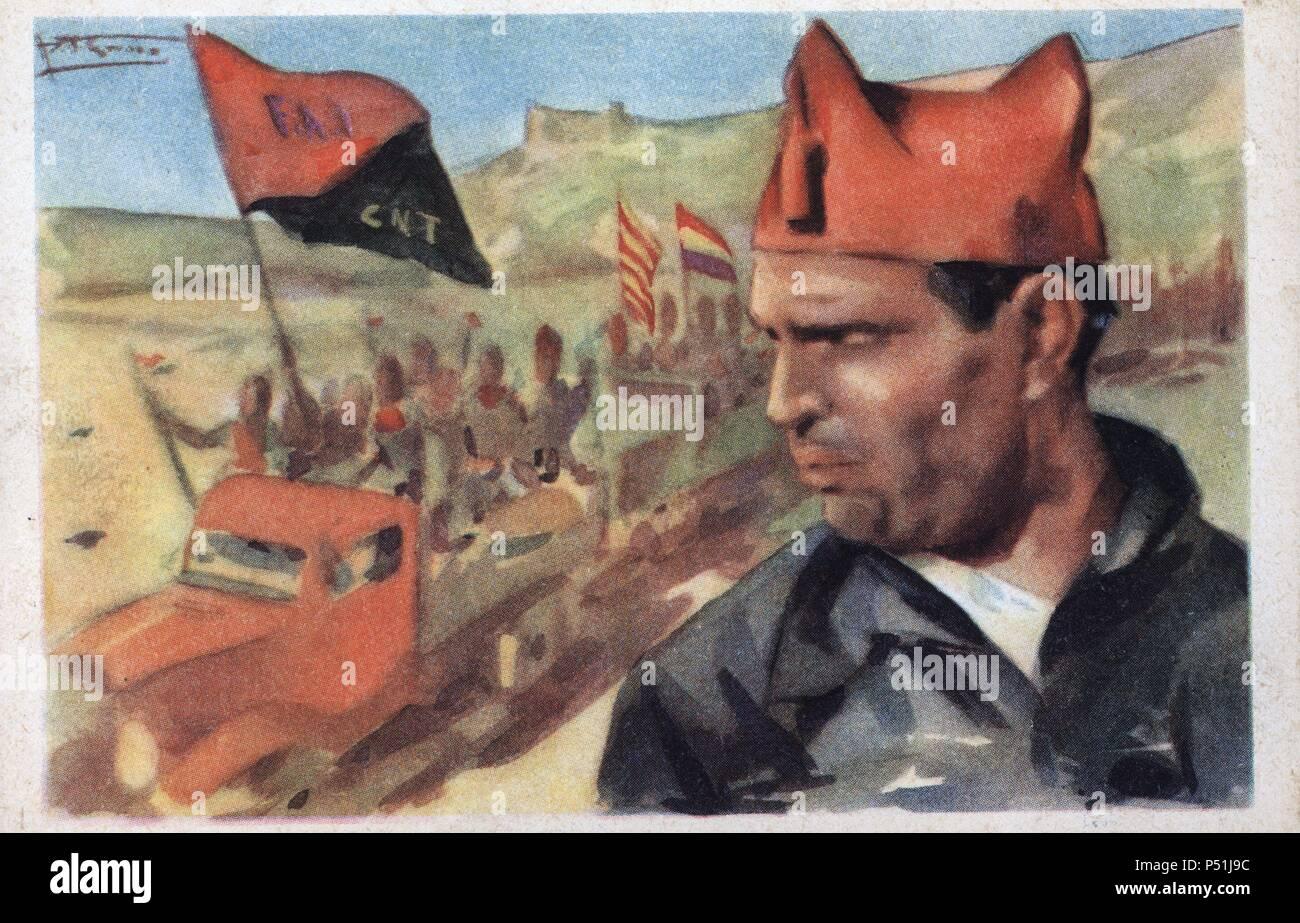 Dibujo de Buenaventura Durruti (León, 1896-Madrid, 1936), el camarada que dirige las milicias de la CNT y la FAI. Tarjeta postal editada por Cruz Roja. Año 1936. Foto de stock