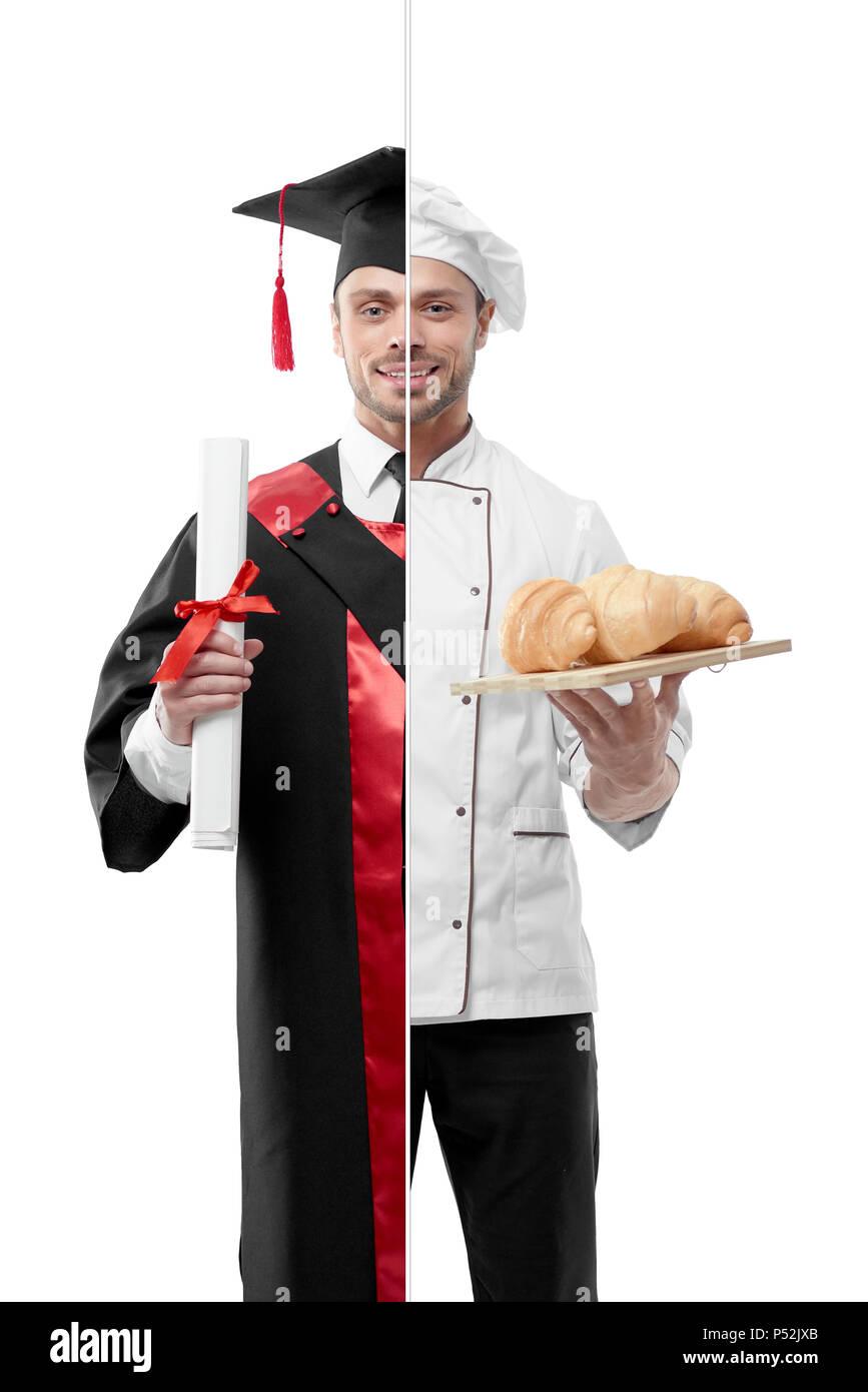 Comparación de postgrado de la universidad de outlook del chef. Estudiante vestido rojo y negro vestido de graduación, manteniendo el diploma. Chef chef vestidas de blanco la túnica, agujerear porcelian placa con croissants recién horneados. Foto de stock